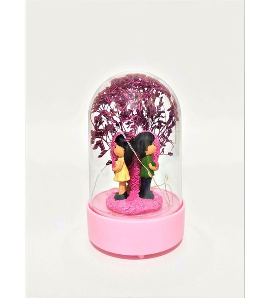 Işıklı Fanus Çiçek Tutan Çift-Ebamtf0012