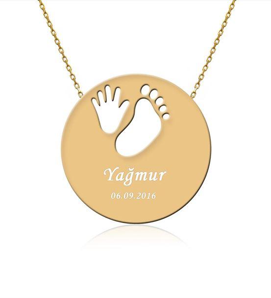 İsimli Bebek El Ayak İzi Altın Kaplama Gümüş Kolye