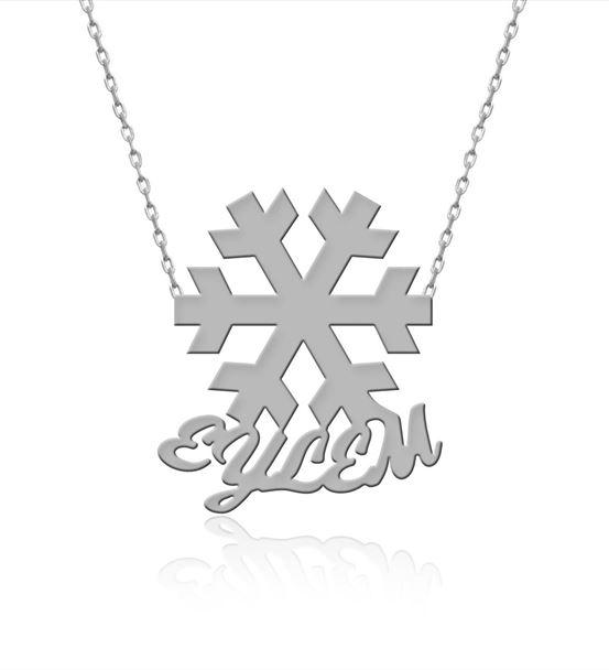İsimli Gümüş Sade Kar Tanesi Kolye