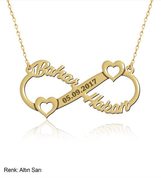 İsimli Kalp Sonsuzluk Altın Kaplama Gümüş Kolye
