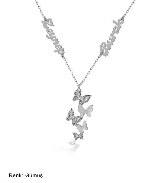 İsimli Kişiye Özel Beşli Kelebek Gümüş Kolye
