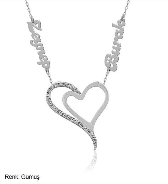 İsimli Kişiye Özel İki Kalp Gümüş Kolye
