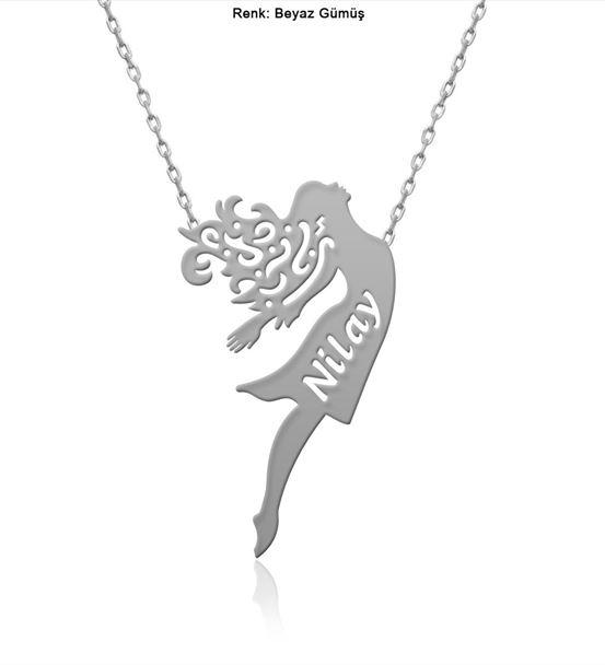 İsimli Özgür Kız Gümüş Kolye