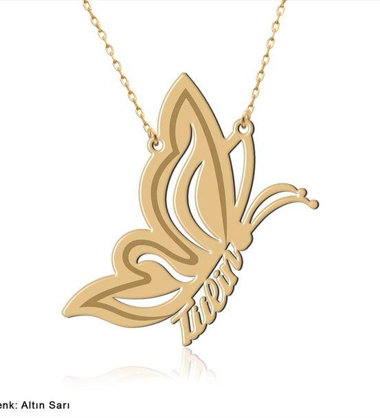 İsimli Uçan Kelebek Gümüş Kolye