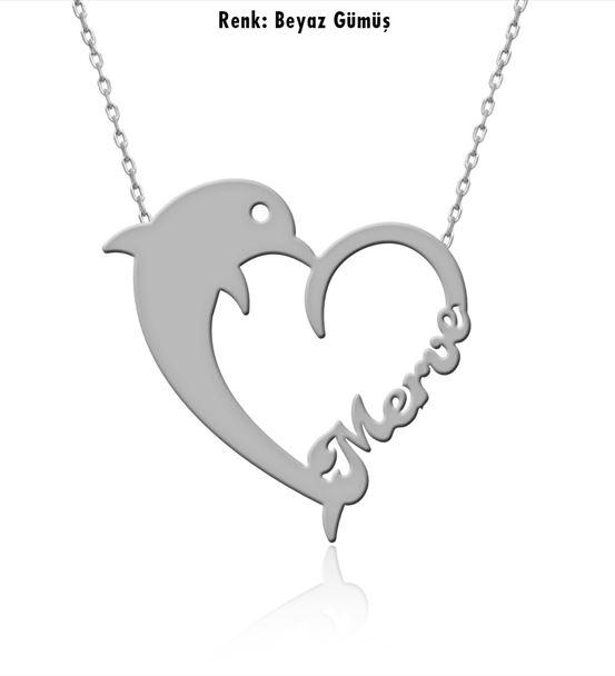 "İsimli Yunus Balığı Gümüş Kolye"""