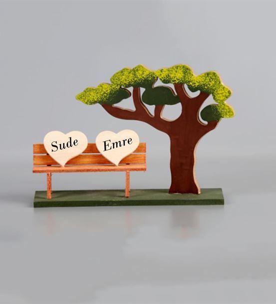 İsme Özel Ahşap Ağaçlı Çift Kalpli Dekoratif Bank