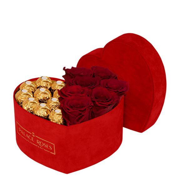 Kadife Kırmızı Kalp Kutuda Çikolata - Solmayan Gül
