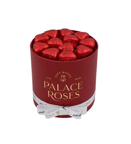 Kağıt Kırmızı Yuvarlak Kutuda Çikolata