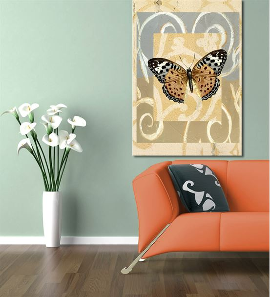 Kahverengi Kelebek Kanvas Tablo 60x90 cm