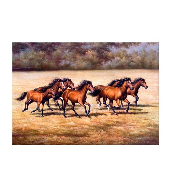 Kahverengi Koşan Atlar Kanvas Tablo 20x30cm