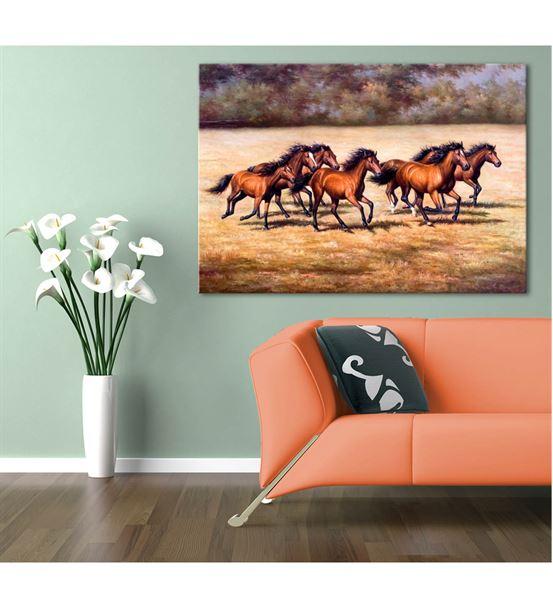 Kahverengi Koşan Atlar Kanvas Tablo 50x70cm
