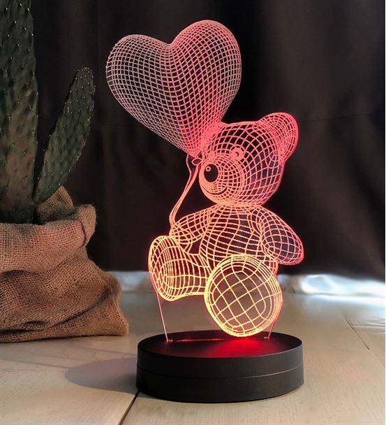 Kalp Balonlu Ayıcık Led Lamba