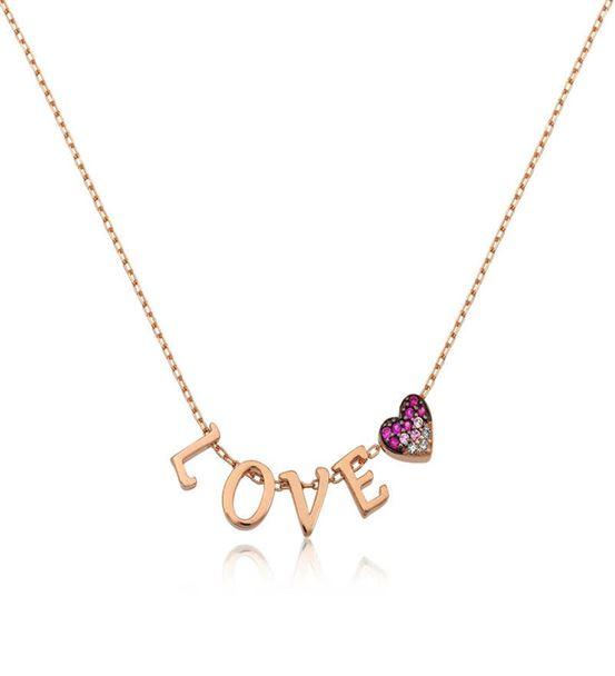 Kalpli Love Yazılı Tasarım Bayan Kolye