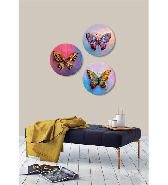 Kelebek Motifli Renkli 3'lü Kombin Mdf Tablo