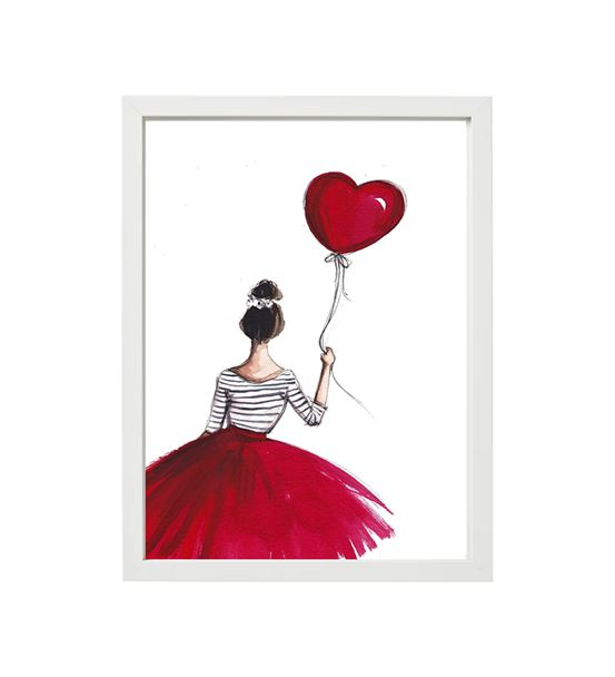 Kırmızı Balonlu Kız tekli çerçeve seti