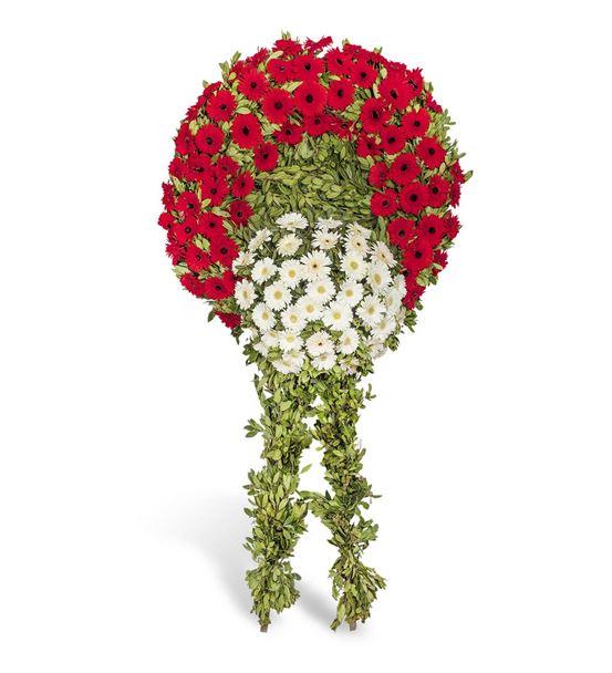 Kırmızı Beyaz Gerbera Cenaze Çelengi