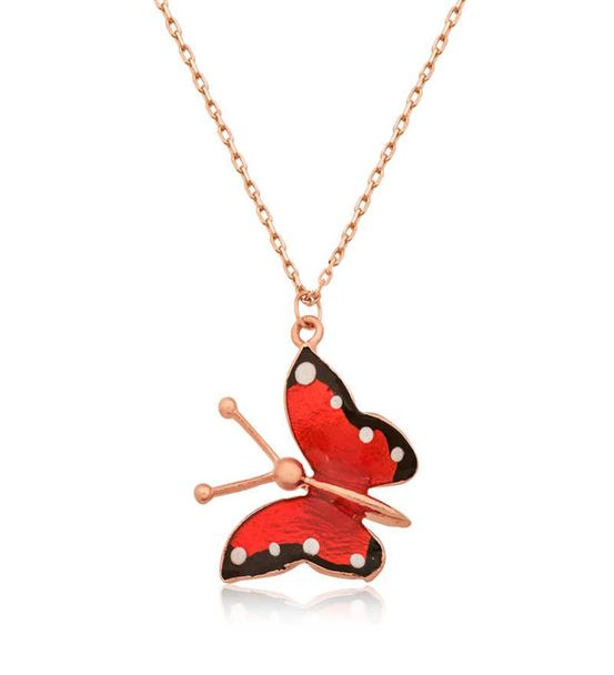 Kırmızı Kelebek Bayan Kolye