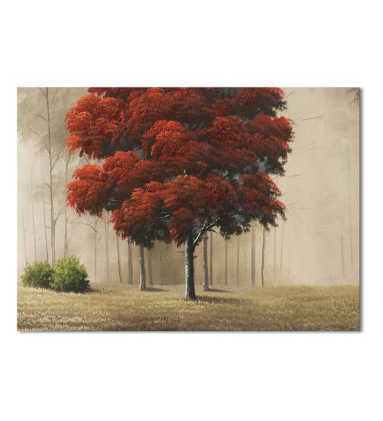 Kırmızı Sonbahar Yaprakları Kanvas Tablo 50X70 cm
