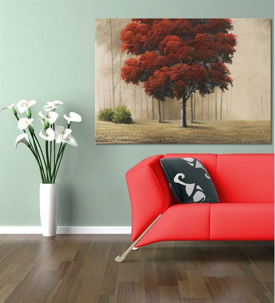 Kırmızı Sonbahar Yaprakları Kanvas Tablo 75x100 cm