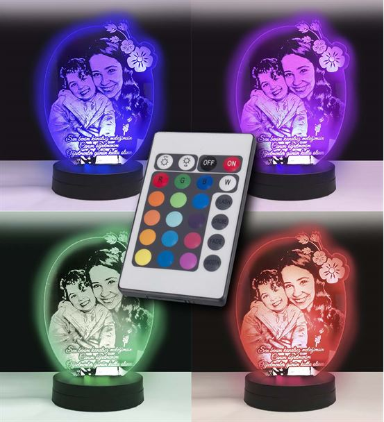 Kişiye Özel 3D Oval Çiçek Led Gece Lambası