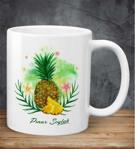 Kişiye Özel Ananas Baskılı Kupa