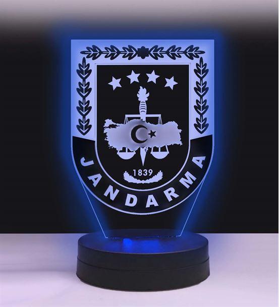 Kişiye Özel Jandarma Logolu Hediye Led Lamba