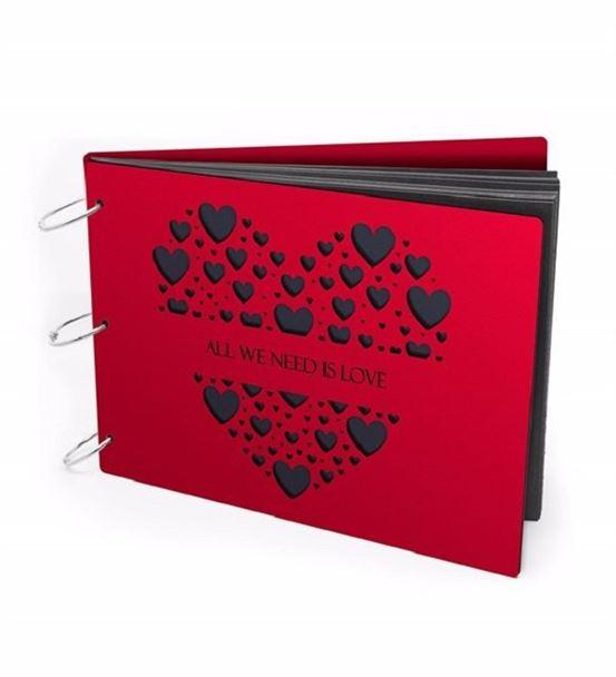 Kişiye Özel Kalp Tasarımlı Ahşap Albüm Kırmızı