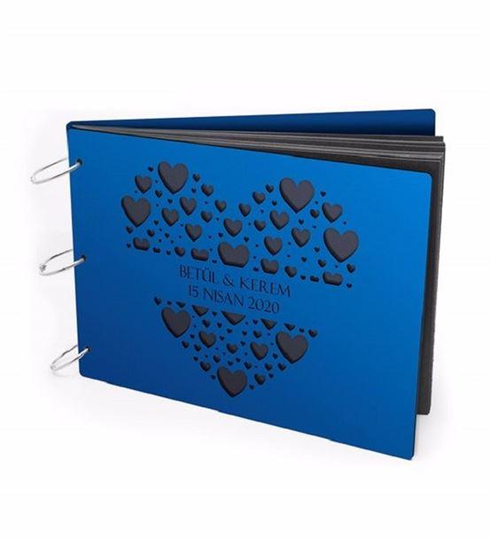 Kişiye Özel Kalp Tasarımlı Ahşap Albüm Mavi