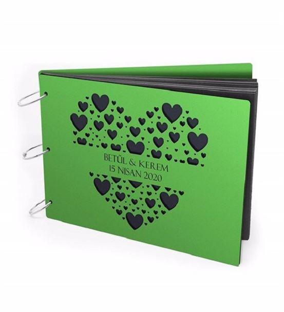 Kişiye Özel Kalp Tasarımlı Ahşap Albüm Yeşil