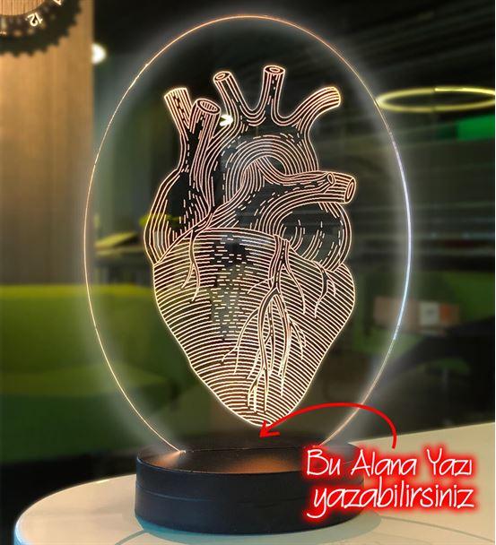 Kişiye Özel Oval Kalp Doktoru Hediyesi Led Lamba