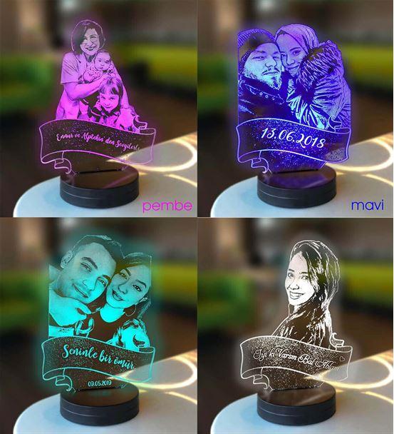Kişiye Özel Profil Kesim 3d Modelli Gece Lambası