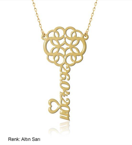 Kişiye Özel Tarihli Kalbimin Anahtarı Gümüş Kolye
