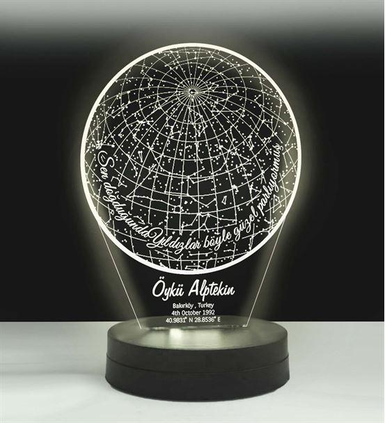 Kişiye Özel Yıldız Haritası Led Lamba