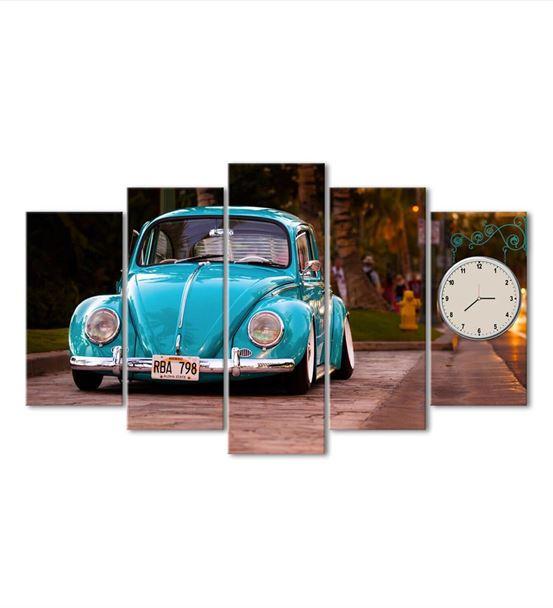 Klasik VW Vosvos 5 Parça Saat'li Kanvas Tablo