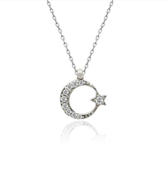 Küçük Ay Yıldız Gümüş Kolye