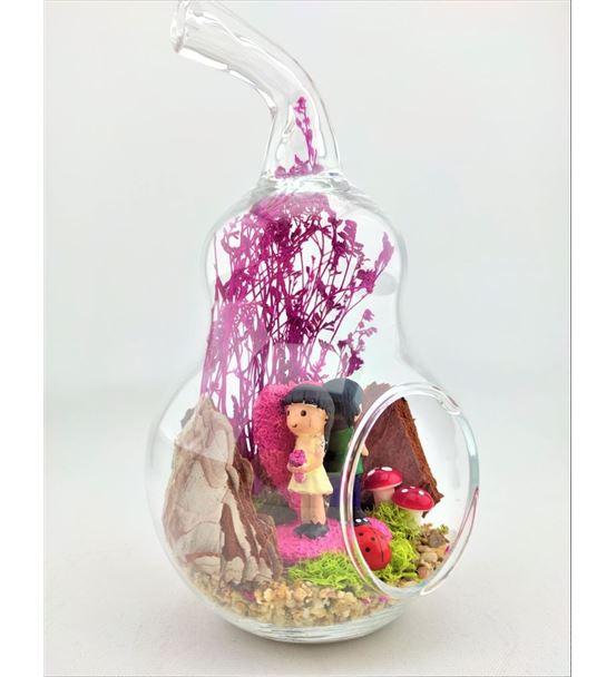 Kuru Çiçek Pembe Kalp Üstnde Çiçkli Çift-Ebama0037