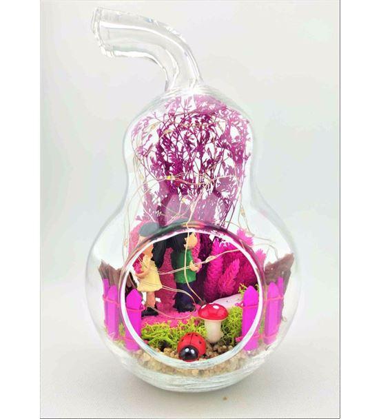 Kuru Çiçek Teraryum Işıklı Pembe Kalp-Ebama0013