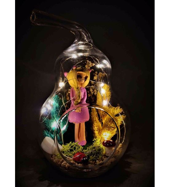 Kuru Çiçek Teraryum Işıklı Sarışın Kız-Ebama0019