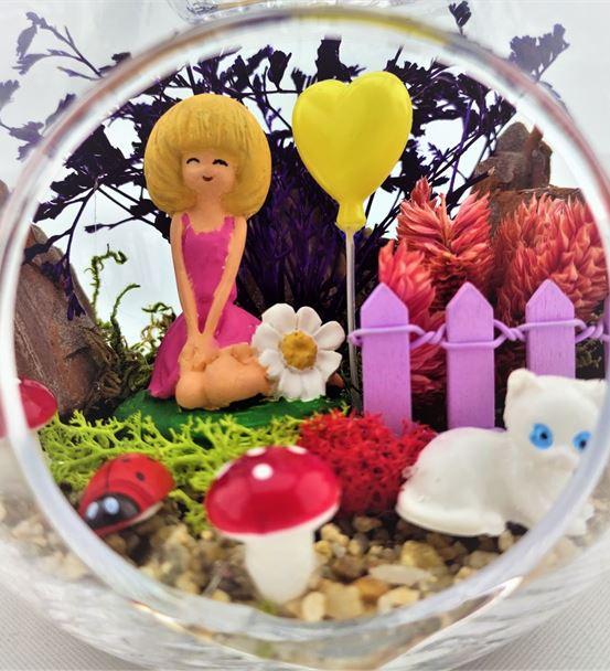 Kuru Çiçek Teraryum Papatyalı Kız-Ebame0035