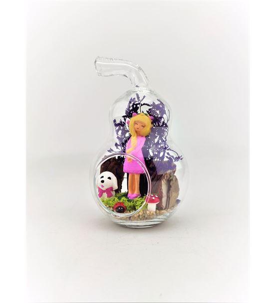 Kuru Çiçek Teraryum Pembe Elbiseli Kız-Ebama0038