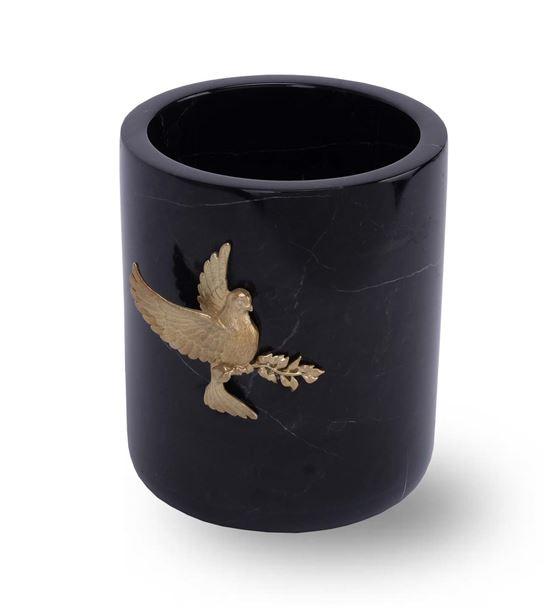 Kuş Detaylı Siyah Mermer Saksı