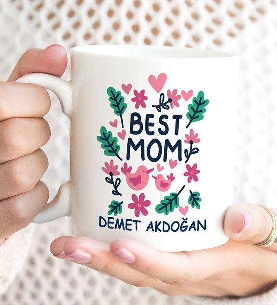 Kuşlar Best Mom Baskılı Kupa Bardak