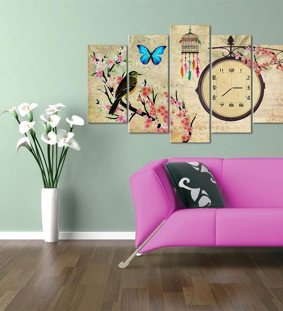 Kuşlu Kelebekli 5 Parça Saat'li Kanvas Tablo