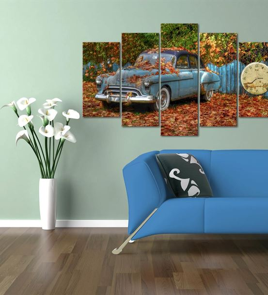 Mavi Klasik Otomobil 5 Parça Saat'li Kanvas Tablo