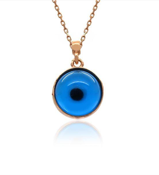 Mavi Nazar Göz Gümüş Kolye