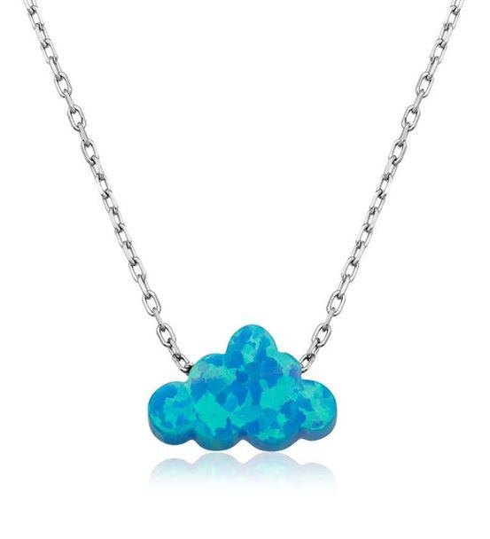 Mavi Opal Taş Bulut Tasarımlı Bayan Kolye