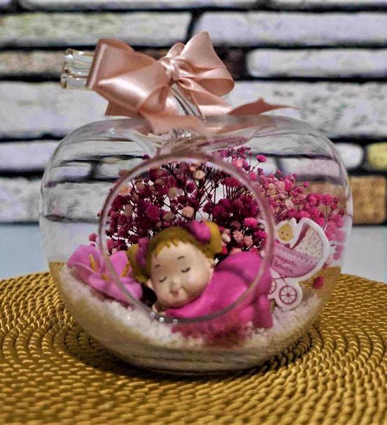 Mini Elma Uyuyan Kız Bebek Teraryum-Ebame0066