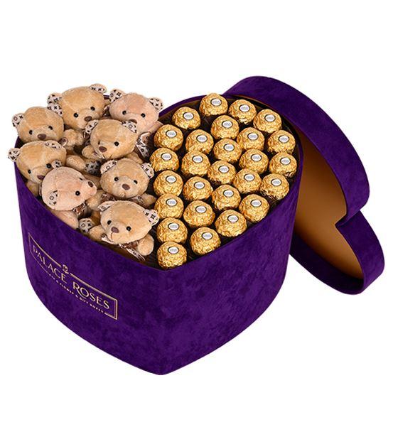Mor Kadife Kalp Kutuda Çikolata ve Ayıcıklar