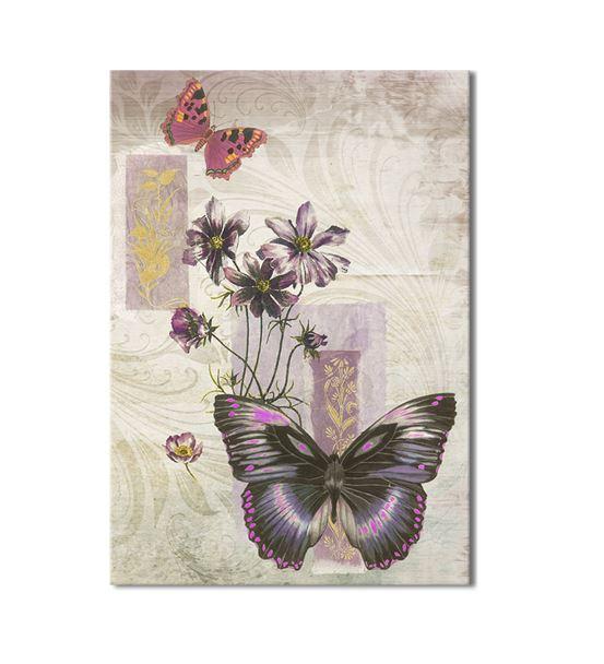 Mor Kelebek Kanvas Tablo 60x90 cm