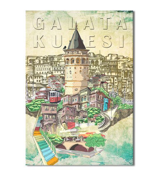 Nostalji Galata Serisi B Kanvas Tablo 60x90 cm